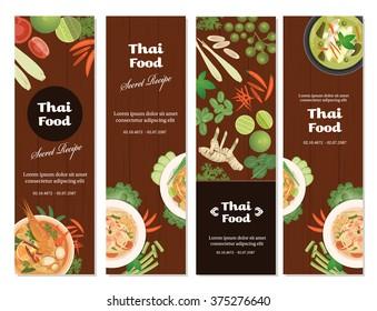 vector of Thai foods banner set,vertical banner design ,flat style