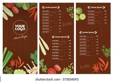 vector of Thai foods restaurant menu template,Thai ingredients on wooden background