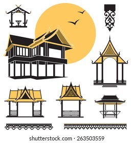 vector Thai house, Thai art