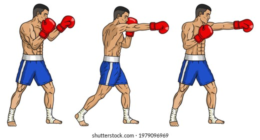Vector thai muay thai fighter in blue shorts and boxing gloves