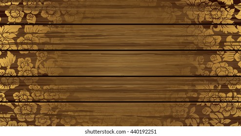 Vector of Thai tradition pattern on wooden background