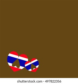 Vector of Thailand color Flag with heart shape and little heart shape upside down inside and space for add text on brown background