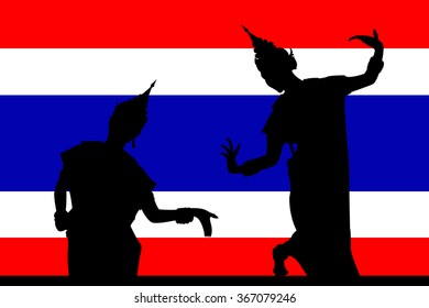 The vector of Thailand dance on flag