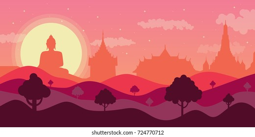 Vector Thailand Landscape and Thai Temple and Buddha statue. Flat Design