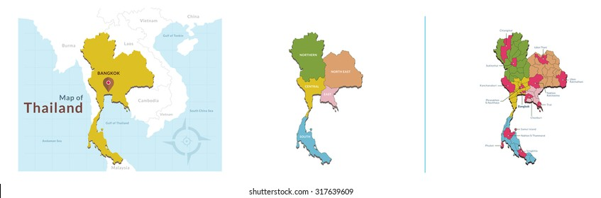 Vector of Thailand Map with capital city Bangkok and major province, Included five zone sector of Thai