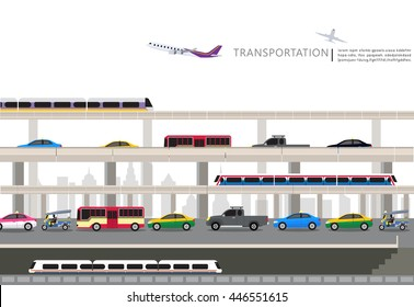 vector of Thailand transportation, Bangkok city Travel, Bangkok Railway Station, airport sky train, underground, taxi meter