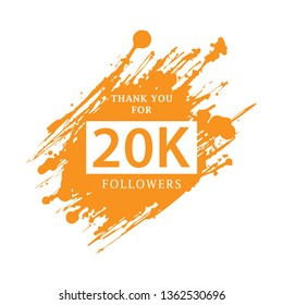 Vector thanks design template for network friends and followers. Thank you 20 K followers card. Image for Social Networks. Web user celebrates large number of subscribers or followers. - Vector