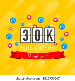 Vector thanks design template for network friends and followers. Thank you 30K followers card. Image for Social Networks