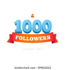Vector thanks design template for network friends and followers. Thank you 1000 followers card. Image for Social Networks. Web user celebrates a large number of subscribers or followers.