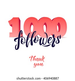 Vector thanks design template for network friends and followers. Thank you 1K followers card. Image for Social Networks. Web user celebrates large number of subscribers or followers. 1000 followers.