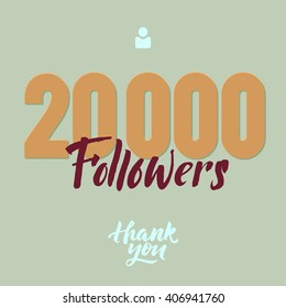 Vector thanks design template for network friends and followers. Thank you 20K followers card. Image for Social Networks. Web user celebrates large number of subscribers or followers. 20000 followers.