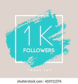 Vector thanks design template for network friends and followers. Thank you 1 K followers card. Image for Social Networks. Web user celebrates large number of subscribers or followers.