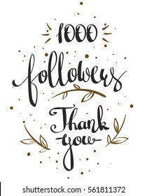 Vector thanks design template for network friends and followers. Thank you 1000 followers card. Image for Social Networks. Web user celebrates large number of subscribers or followers.