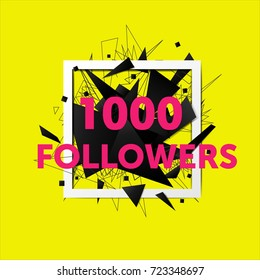 Vector thanks design template for network friends and followers. 1000 followers card. Image for Social Networks. Web user celebrates large number of subscribers or followers
