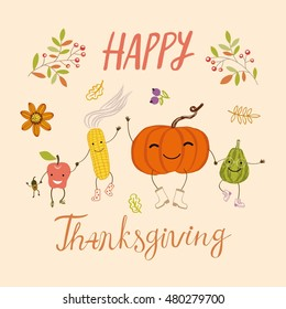 Vector Thanksgiving banner with funny pumpkins, apple, corn and acorn