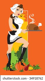 Vector - Thanksgiving Cutie. Cute pilgrim woman can be used separately from the background. Flat orange background color is also on a separate layer.