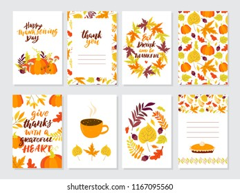 Vector Thanksgiving day invitation and greeting card, flyer, banner, poster templates. Hand drawn symbols, cute design elements, and handwritten lettering. Thanksgiving day vector collection.