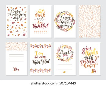 Vector Thanksgiving day invitation and greeting card, flyer, banner, poster templates. Hand drawn symbols, cute design elements, and handwritten ink lettering. Thanksgiving day vector collection.