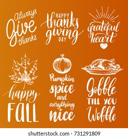 Vector Thanksgiving lettering with illustrations for invitations or festive greeting cards. Handwritten calligraphy set of Happy Fall, Gobble Till You Wobble etc.