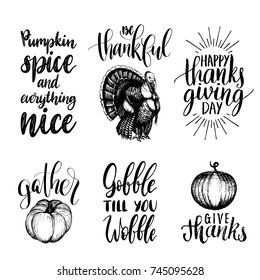 Vector Thanksgiving lettering with illustrations for invitations or festive greeting cards. Handwritten calligraphy set of Be Thankful, Gather etc.