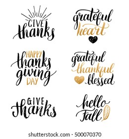 Vector Thanksgiving lettering for invitations or festive greeting cards. Handwritten calligraphy set:Grateful Heart, Hello Fall etc.