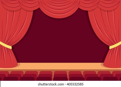 Vector theater stage with red curtains and seats. Flat style. Eps 10.