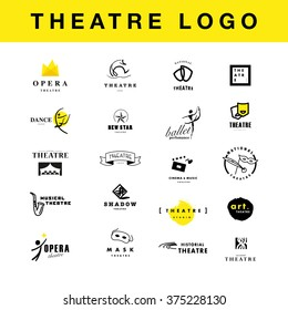 Vector theatre and ballet perfomance logo template design collection. Artistic and drama performance, spotlight insignia sample. Advertising icon, graphic design, leaflet, flyer and poster elements.
