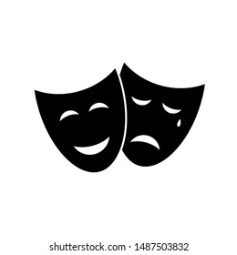 Vector theatre masks icon isolated on white background