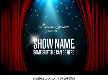 Vector theatre stage illustration with red curtain and spotlight