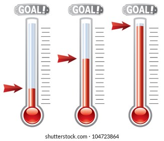 vector thermometers at different levels, donation for fundraise or charity goals