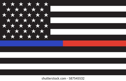 Vector Thin Blue Line & Red Line Police & Fire respect and honor law enforcement Flag