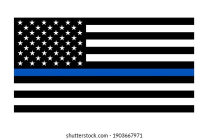 Vector The Thin Blue Line United States Flag Illustration