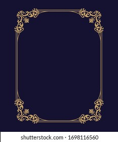 Vector thin gold beautiful decorative vintage frame for your design. Making menus, certificates, salons and boutiques. Gold frame on a dark background. Space for your text.