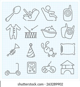 Vector thin line baby icons set for web design and user interface and infographics