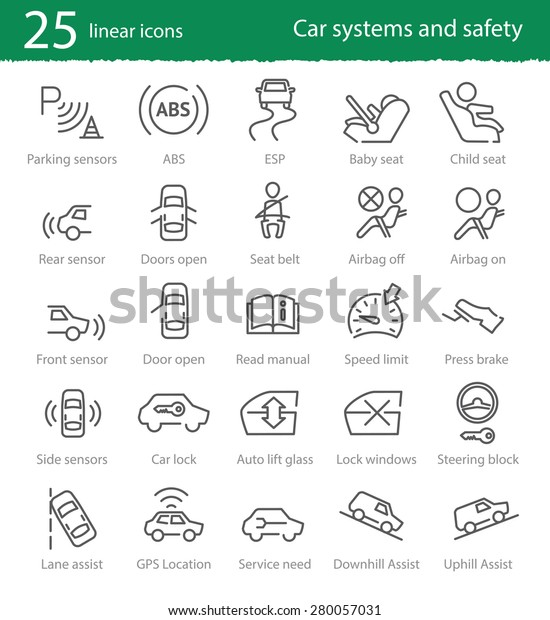 Vector thin line car interface and electronic safety systems icons
