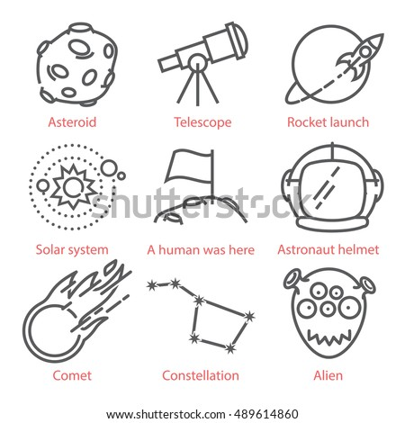 Vector thin line cartoon icons with space theme. Kid styled hand drawn icons. For infographics, UX UI kit, web design mobile prototypes, patterns, textile print and more.