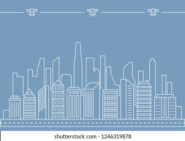 Vector thin line city illustration concept for any use