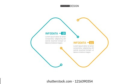Vector thin line flat connection for infographic. Business concept with 2 option. Can be used for workflow diagram, report, plan, presentation, graph.