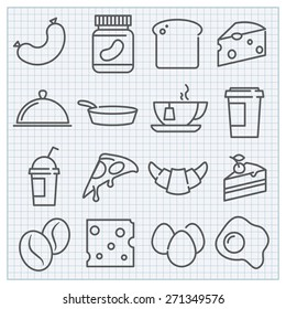 Vector thin line food and drinks icons set
