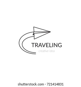 Vector thin line icon, paper airplane silhouette. Logo template illustration for airline company, airport or travel agency. Black on white isolated symbol. Simple mono linear modern design.