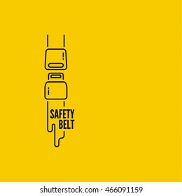 Vector thin line icon safety belt. Clasp. Simple mono linear pictogram.