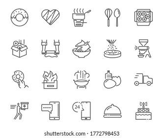 Vektordünne Linie Icon Satz von Donuts machen zu Hause und verwandte Dinge, 64x64 Pixel perfekt Symbol, bearbeitbares Symbol für Web-Design und Anwendung auf weißem isoliertem Hintergrund