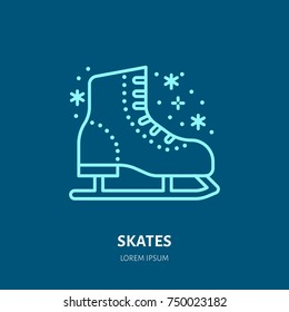 Vector thin line icon of skates. Winter recreation equipment rent logo. Outline symbol of figure skating. Cold season activities sign.