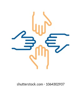 Vector thin line icons with 4 hands. Concept design for teamwork, success, charity, business, volunteers, performance group, equality and other concepts