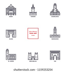Vector thin line icons of Koutoubia Mosque, Ait Ben Haddou, Hassan II Mosque, Beni Mellal fortress