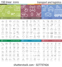 Vector thin line icons set for transportation, logistics, delivery and car interface.
