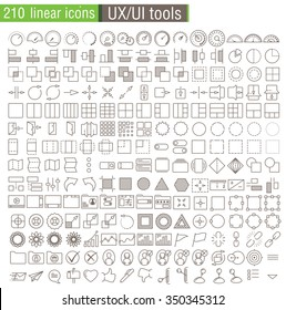Vector thin line icons set for UX/UI prototypes, web design, mobile applications and infographics