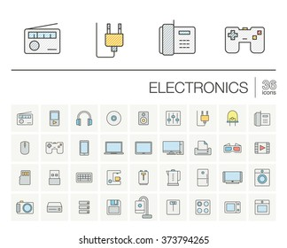 Vector thin line icons set and graphic design elements. Illustration with electronics, multimedia and technology outline symbols. Music, film, phones, joystick, video, kitchen gadgets color pictogram