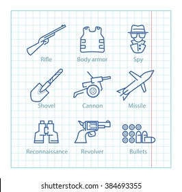 Vector thin line icons set for military infographics, mobile game UX,UI on paper background