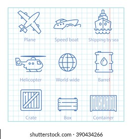 Vector thin line icons set for logistics, shipping and delivery infographics and mobile applications UX/UI